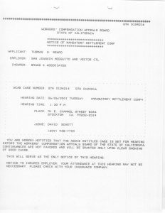 06-26-01 Tom Beard Notice of Mand Settlement