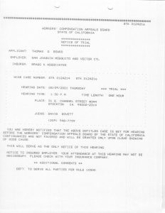 08-09-01 Tom Beard WCAB Notice of Trial