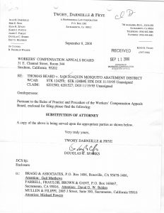 09-08-00 Tom Beard WCAB filing - Helphrey's firm taking over defense_Page_1