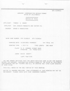 10-25-01 Tom Beard WCAB Notice of Trial