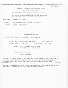 12-05-01 Tom Beard WCAB Trial Notice of Hearing Cancellation