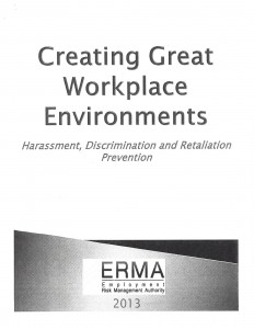 01-14-14 ERMA Creating Great Workplace Environments Harassment, Discrimination and Retaliation Prevention _Page_01