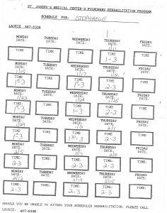 02-15-13 St Joseph's Rehab Schedule Stephanie