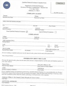 03-01-16 QME DWC Complaint Form Thomas Allems1