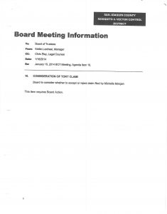 03-10-14 Board of Trustees Agenda # 10 Consideration of Tort Claim