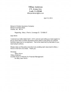 04-10-14 3-10-14 Follow up to close Account Mary Jean Letter Omaha 721899-271