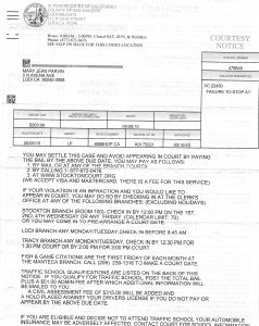 05-05-10 Mary Jean Parvin Traffic Ticket