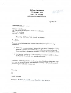 08-08-14 Public Records Request West Nile Virus