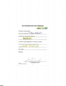 08-13-07 Visit Verification Dr Excuses for John Stroh