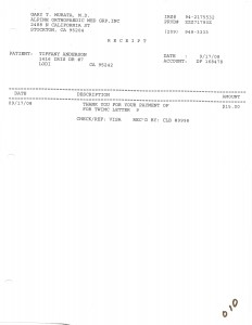 09-17-08 Ortho Murata Payment for a copy of my medical records