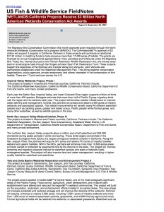 09-26-07 WETLANDSCalifornia Projects Receive $3 Million North A01