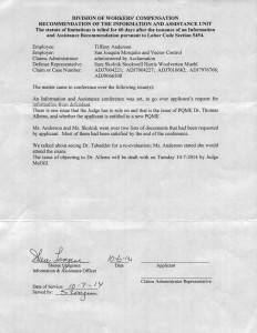10-06-14 Ruling & Clarification of issues WCAB