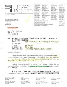 10-1-14_Kyle Hanson to TA Regarding Hearing on 10-26-11_Page_1