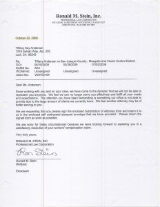 10-22-09_Attorney Ronald Stein Fires Tiffany Anderson as Client