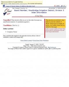 11-04-08 Board Member; Woodbridge Irrigation District; Division 5 Election Information November 4, 2008 Elect_