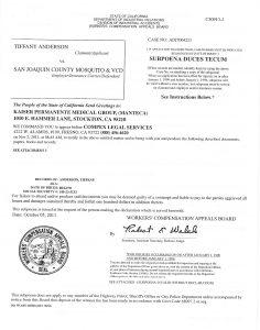J. Subpoena Kaiser Manteca ER Visist 28 pages