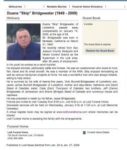 01_14_09 Duane Bridgwater Obituary exposed to formalin 2 years