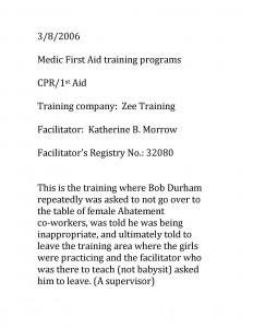 03-08-06 Bob Durham inappropriate conduct
