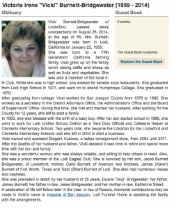 08_26_14 Vicki Bridgewater Obituary