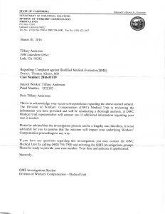 03-30-16 DWC QME Allems Complaint Number 2016-51119 Medical Unit