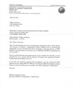 04-20-16 Letter from DIV WCAB Tabaddor Complaint Case Number 201-51168 1