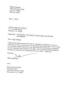 05-11-16-WCAB-TA-to-Judge-Webber-Tabaddor-Satisfied-Reinstate-Benefits-