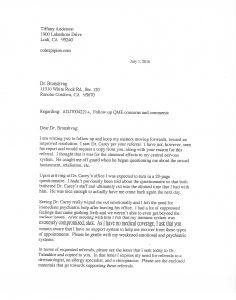 07-01-16 Letter to QME Pg 1