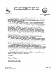 10-01-06 Department of Health Services Re West Nile Funding