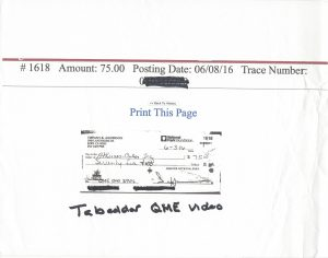 06-03-16 payment for video with Khosrow Tabaddor, M.D. QME Monday, September 12